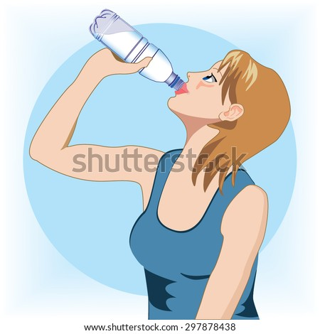 Woman drinking water vector - stock vector