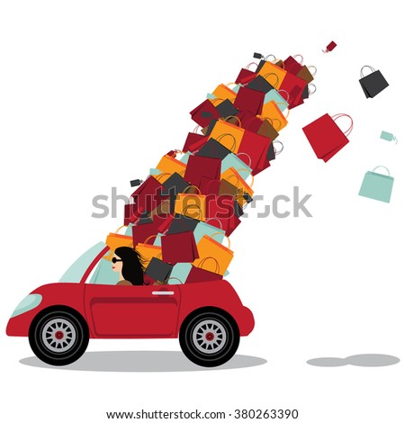 woman driving convertible overloaded with shopping bags. EPS 10 vector. - stock vector