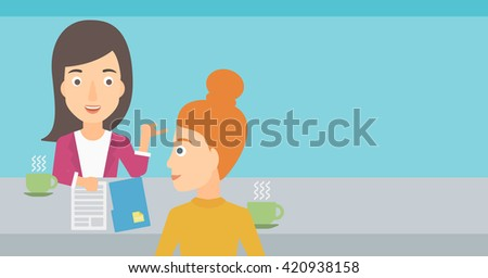 Woman during tv interview. - stock vector