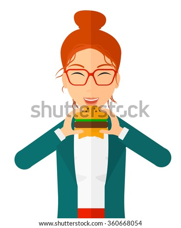Woman eating hamburger.  - stock vector