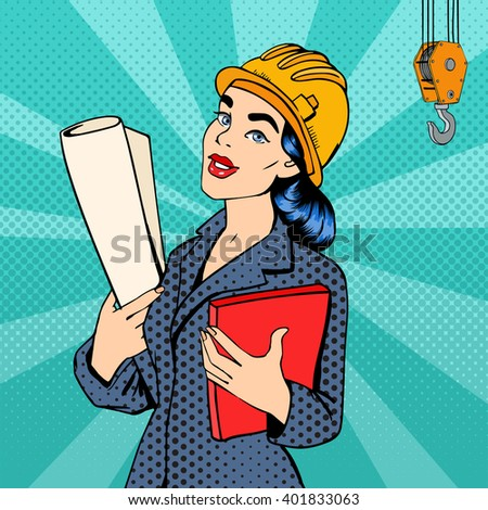 Woman Engineer. Woman in Helmet with Documents. Female Architect. Pop Art Banner. Vector Illustration