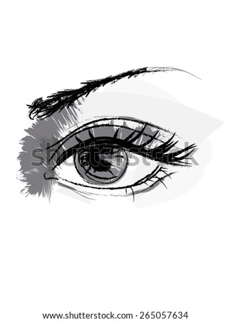 Woman eye vector drawing isolated on white background