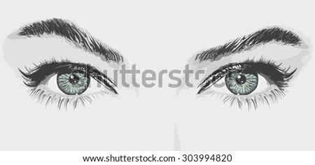woman eyes vector illustration - stock vector