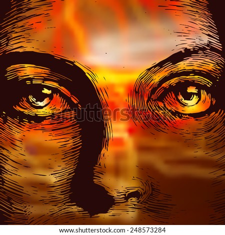 Woman face and abstract lights. vector illustration - stock vector