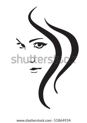Woman Face Hair Vector Silhouette Female Stock Vector