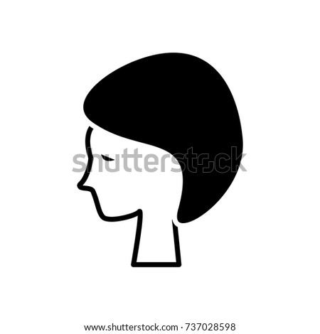 woman face in spa icon, vector illustration, black sign on isolated background