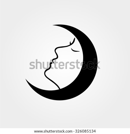 Woman face inside a moon with her eyes closed - stock vector