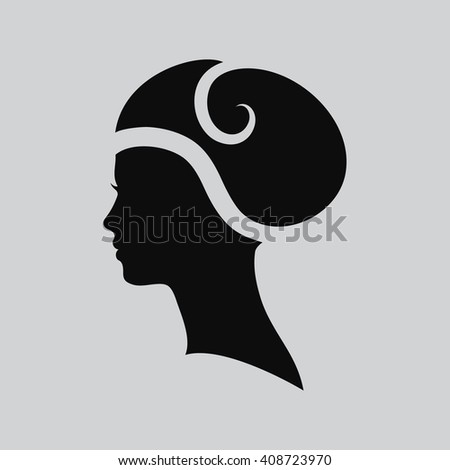 Woman face logo. Abstract logo. Profile beautiful woman. Portrait of a girl. Abstract logo design template for beauty salon, massage, cosmetic and spa, hairdresser, international women day. Vector