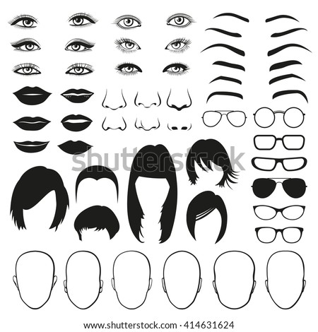 Woman face parts, eye, glasses, lips and hair. Face woman eye, face woman hair, face woman head and lip. Vector illustration set - stock vector
