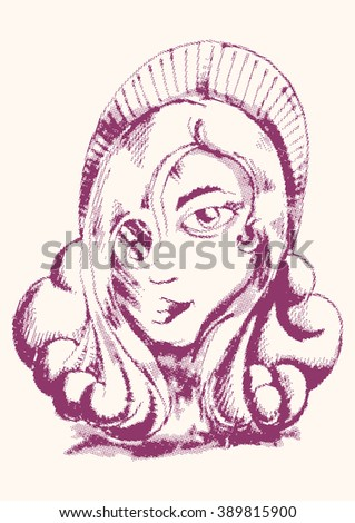 woman face raster in white isolation - stock vector
