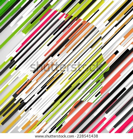 Woman face shape made by paper stripes, vector - stock vector