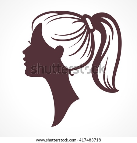 Woman face silhouette. Girl head. Profile silhouette of pretty female face with hair tail - stock vector