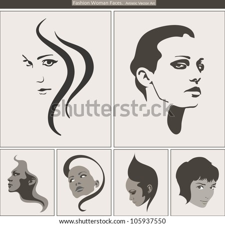 Woman Face Silhouette Portrait. Vector Beauty Profiles - stock vector