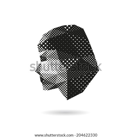 Woman face silhouette, vector illustration - stock vector