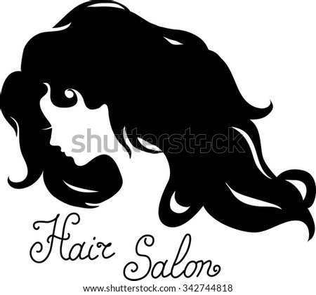 Woman face silhouette with long wavy hair. Pictogram for hair salon - stock vector