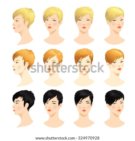 Woman face. Various turn heads. Vector set of beautiful face. Face in front. Face in profile. Blond hair, brunette hair, Red hair - stock vector