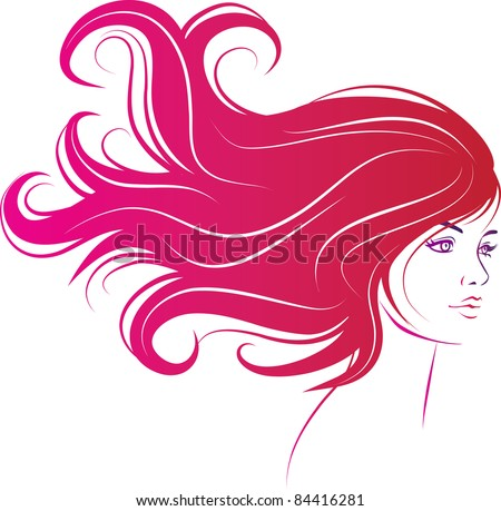 woman face with long decorative black hair - stock vector