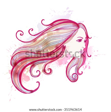 Woman face with long hair. Beautiful fashion woman. - stock vector