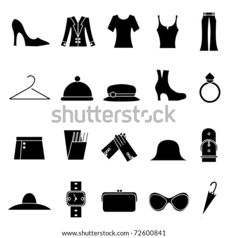 woman fashion and clothes icons - stock vector