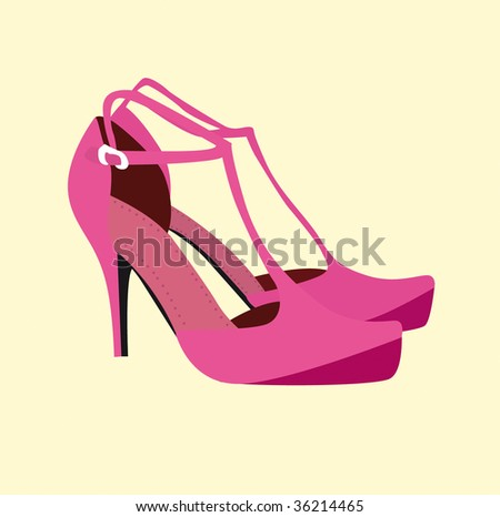 Woman fashion heels shoes - trendy foot wear in vector - stock vector