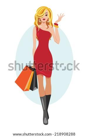 Woman, fashion, model, sale - stock vector