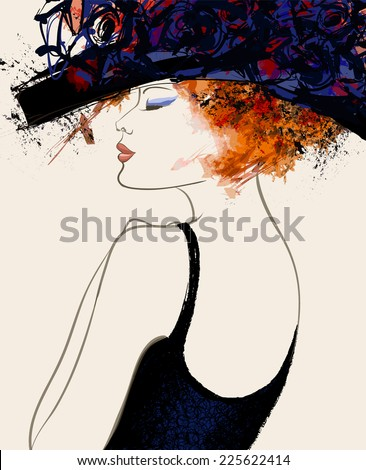 Woman fashion model with hat - vector illustration - stock vector