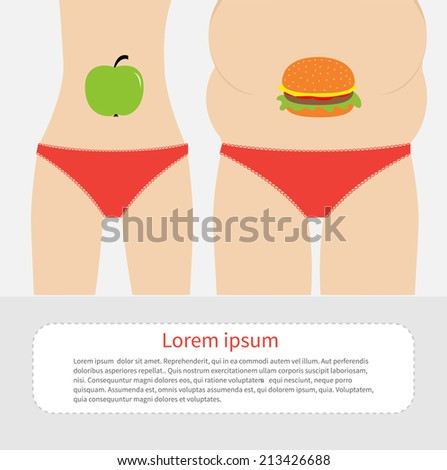 Woman fat and skinny figure red underwear. Healthy unhealthy food apple hamburger Before after infographic Flat design Vector illustration - stock vector