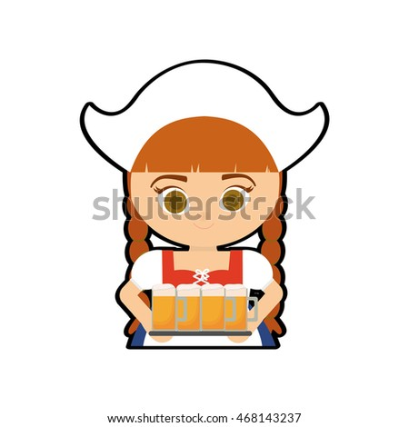 woman female cartoon beer cloth traditional germany europe icon. Isolated and flat illustration