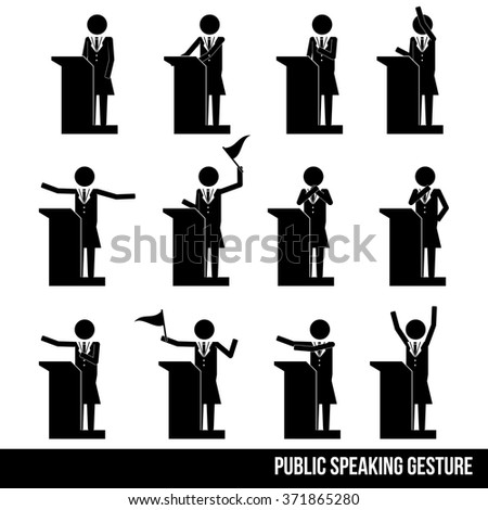 woman female talk on stage have speech info graphic icon vector sign symbol pictogram - stock vector