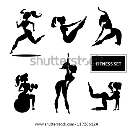 Woman fitness set. Vector illustration isolated on a white background