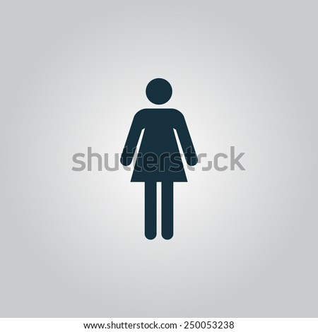 Woman. Flat web icon, sign or button isolated on grey background. Collection modern trend concept design style vector illustration symbol - stock vector