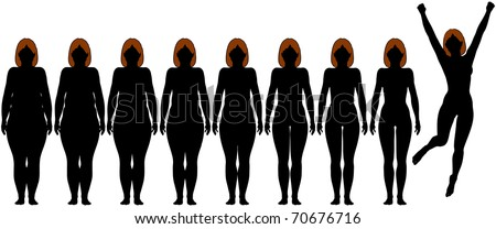 Woman frontal silhouettes of before and after fat to fit Diet Weight Loss Success - stock vector
