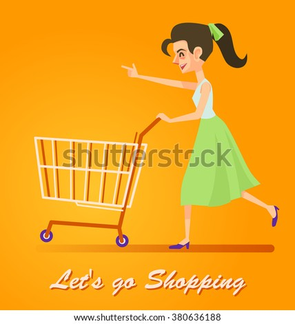Woman go to shopping with a cart, Vector illustration. - stock vector