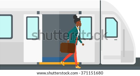 Woman going out of train. - stock vector