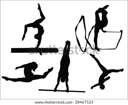 woman gymnastics silhouette - stock vector