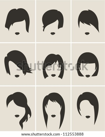 Woman hair style set - stock vector