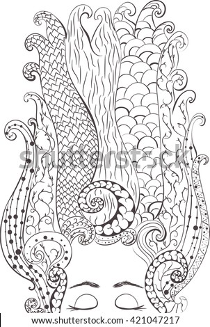 Woman. hand drawn in doodle, zenart style. Coloring page - zendala, design for meditation, vector illustration, isolated on a white background. Zen doodles.