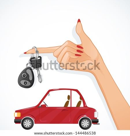 Woman hand with auto key and red car on the background, esp10 - stock vector