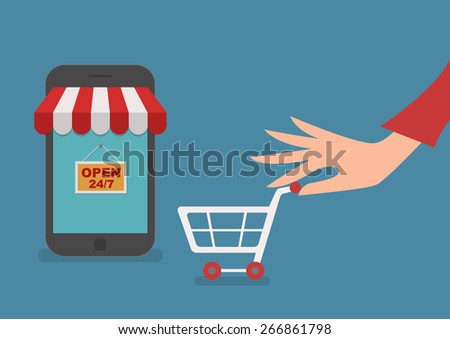 woman hand with cart shopping on line concept vector illustration - stock vector