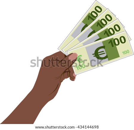 Woman hand with Euro money on white background, Pictograph of money in hand