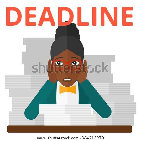Woman having problem with deadline. - stock vector
