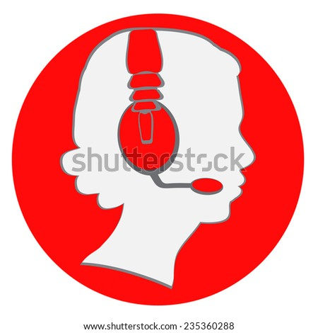 Woman head in handsfree headset vector icon. Red circle icon, woman head profile inside. Woman in mobile set. Call center symbol. Vector flat design element. Eps 10. Isolated on white. - stock vector