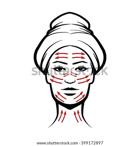 woman head, massage face lines, neck, vector illustration