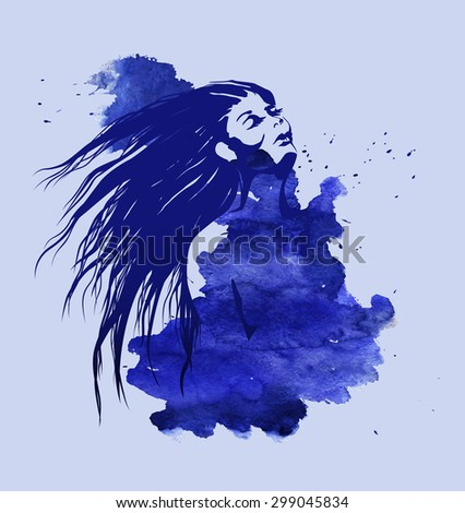 Woman head on the blue watercolor background. Art line portrait of girl with streaming long hear on the background with watercolor stain. Template of T-shirt print. Vector illustration. - stock vector