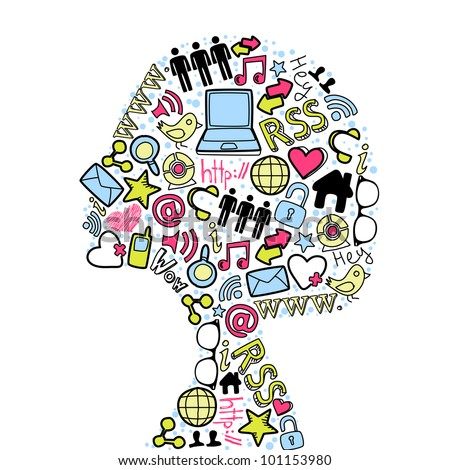 Woman head silhouette made with social media icons set. - stock vector