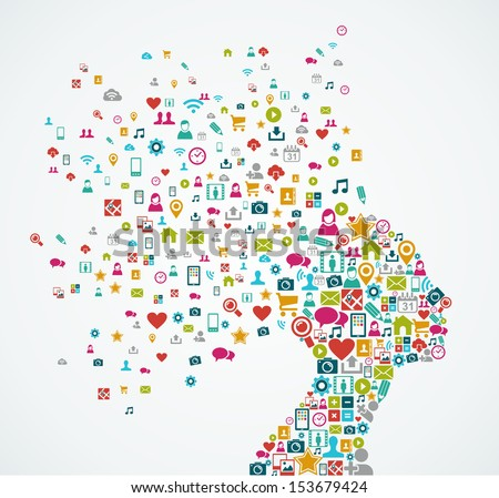 Woman head silhouette made with social media icons splash concept illustration. EPS10 vector file organized in layers for easy editing. - stock vector