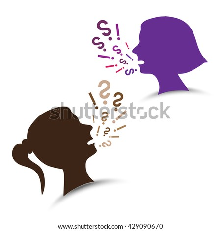 Woman head silhouette - screaming  - stock vector