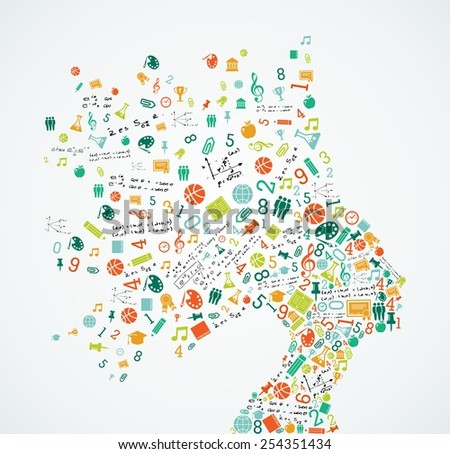 Woman head silhouette with education and school app icons splash concept illustration. EPS10 vector file. - stock vector