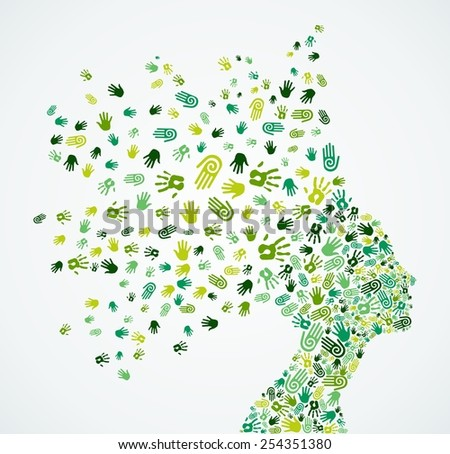 Woman head silhouette with environment and ecology green hand icons splash concept illustration. EPS10 vector file. - stock vector
