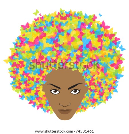Woman head with butterfly. Vector illustration. - stock vector